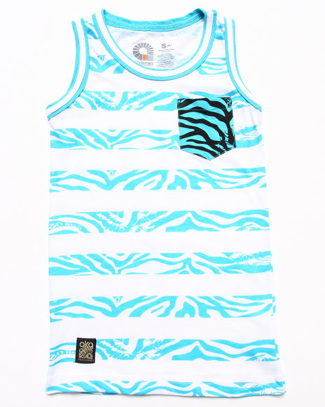 Akademiks - Boys Blue Animal Stripe Tank (8-20) - $8.99