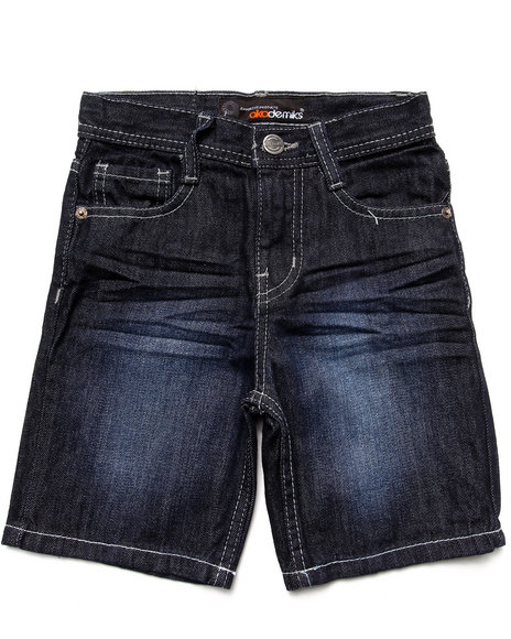 Akademiks - Boys Dark Wash Fanbak Denim Shorts (4-7)