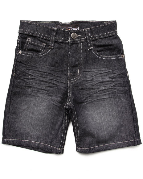Akademiks - Boys Black Fanbak Denim Shorts (4-7)