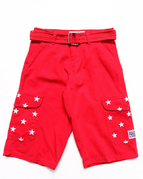 Parish Boys Red Belted Americana Cargo Shorts (8-20)