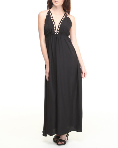 ALI & KRIS Black Cut-Out Babydoll Maxi Dress