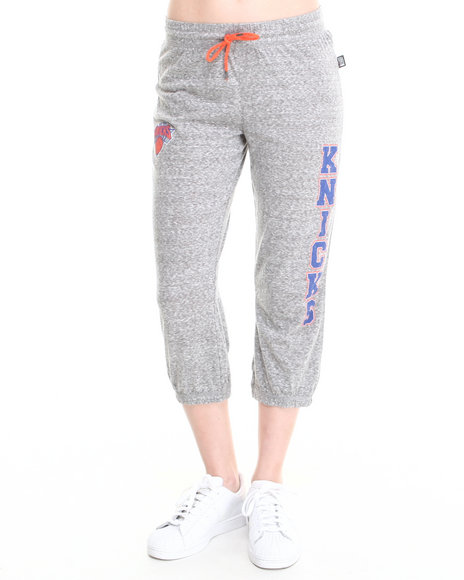 Nba Mlb Nfl Gear - Women Grey New York Knicks Cropped Warm Up Sweatpant