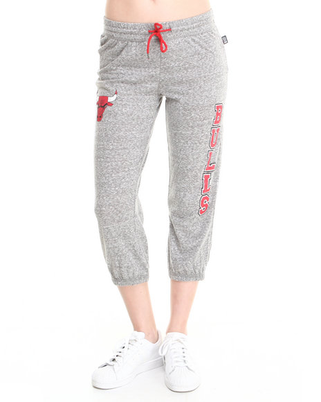 NBA MLB NFL Gear Grey Chicago Bulls Cropped Warm Up Sweatpant