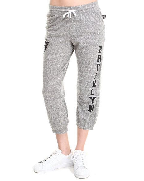 Nba Mlb Nfl Gear - Women Grey Brooklyn Nets Cropped Warm Up Sweatpant