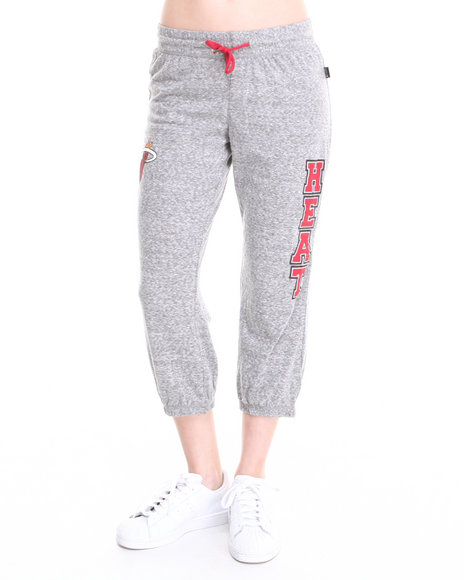 Nba Mlb Nfl Gear - Women Grey Miami Heat Cropped Warm Up Sweatpant