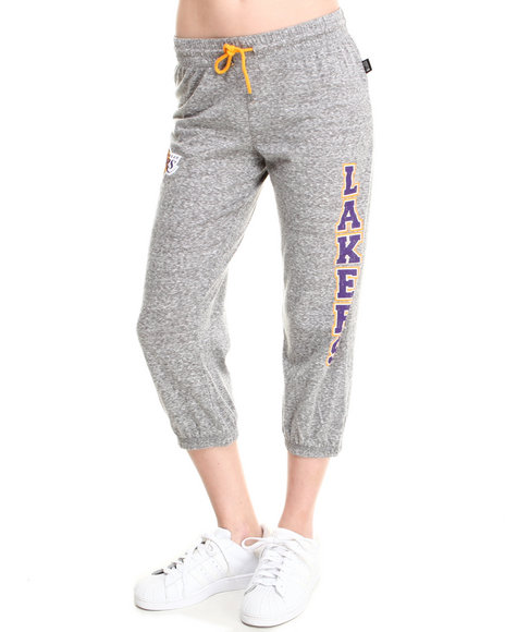 Nba Mlb Nfl Gear - Women Grey Los Angeles Lakers Cropped Warm Up Sweatpant