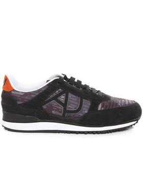 Armani Jeans - Logo Nylon Trainer with Suede Trim
