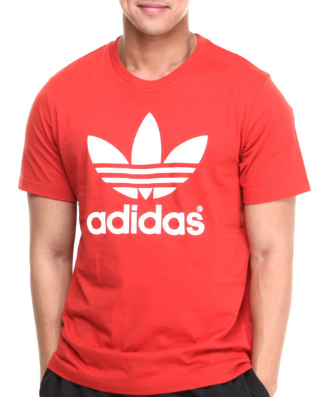 Adidas - Men Orange,Red,White Mirror Trefoil Logo Tee