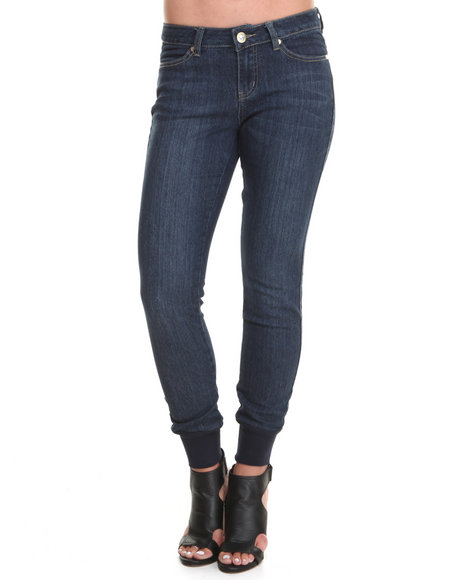 Baby Phat - Women Medium Wash Crew Ankle Jogging Jean