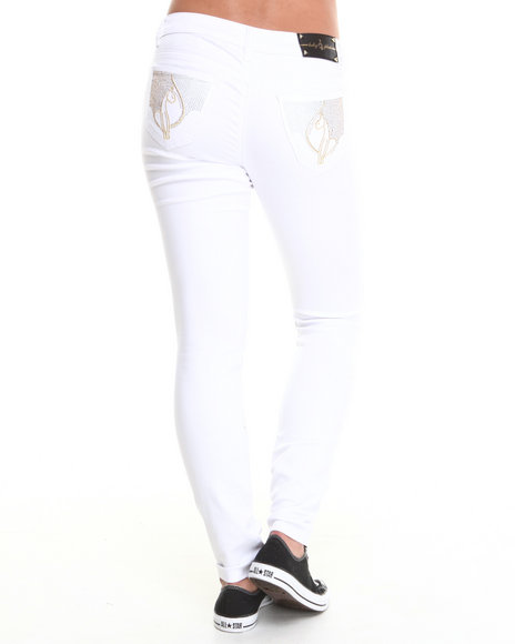 Baby Phat - Women White Studded Rhinestone Back Pocket Skinny Jean