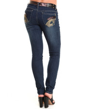 Baby Phat - High Waisted Vegan Leather Trim Skinny Jeans