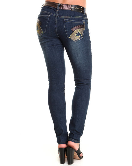 Baby Phat - Women Medium Wash High Waisted Vegan Leather Trim Skinny Jeans