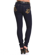 Skinny - High Waisted Vegan Leather Trim Skinny Jeans