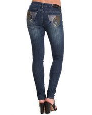 Women - Studded Rhinestone Back Pocket Skinny Jean