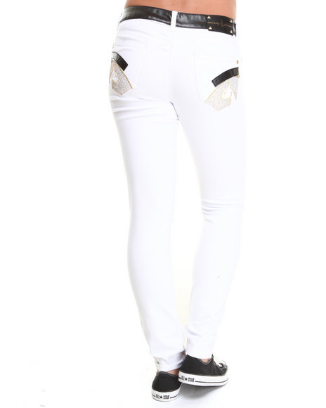 Baby Phat - Women White High Waisted Vegan Leather Trim Skinny Jeans