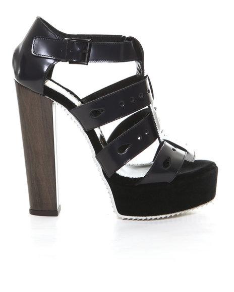 John Galliano - Women Navy Ubi Cage Platform W/ Wood Heel
