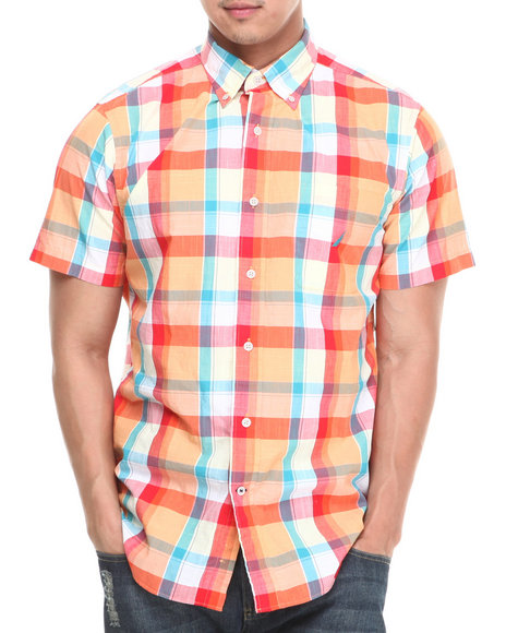 Nautica - Men Orange Large Plaid S/S Button-Down