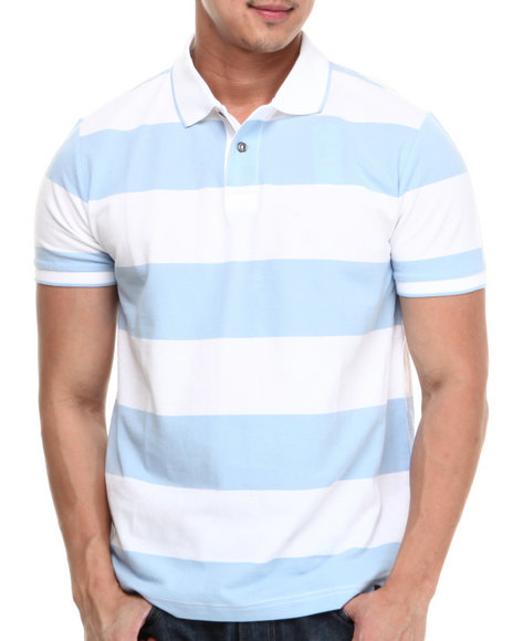 Nautica - Men Blue Rugby Stripe Polo