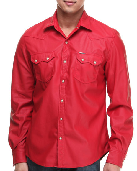 Winchester - Men Red Faux Leather L/S Button-Down With Pearl Buttons