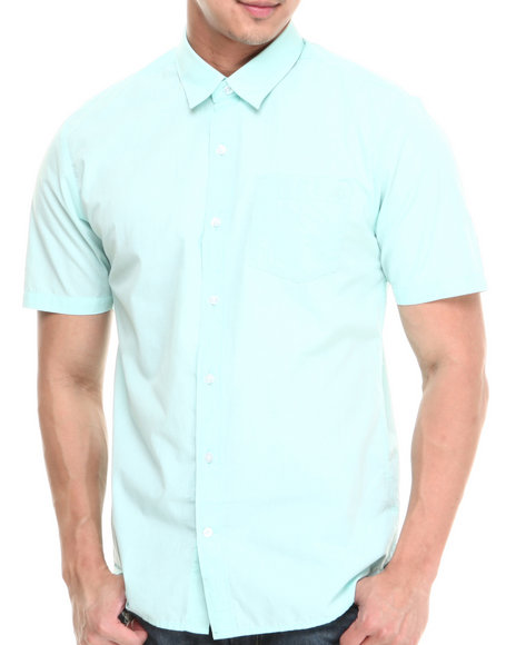 Volcom - Men Green Weirdoh Solid S/S Button-Down