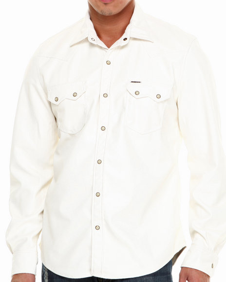 Winchester - Men White All Faux Leather L/S Button-Down W/Pearl Buttons