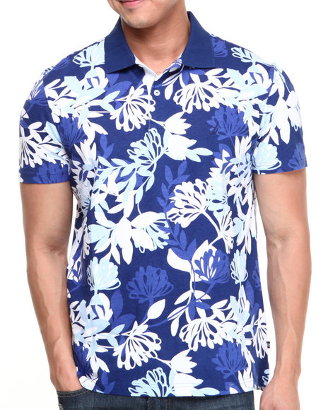 Nautica - Men Blue Foliage Print Polo