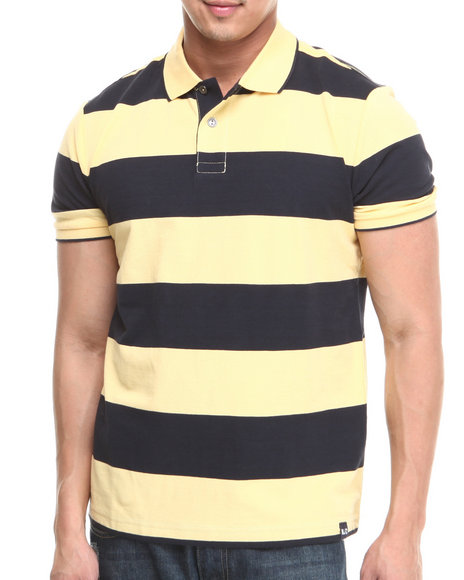 Nautica - Men Yellow Rugby Stripe Polo
