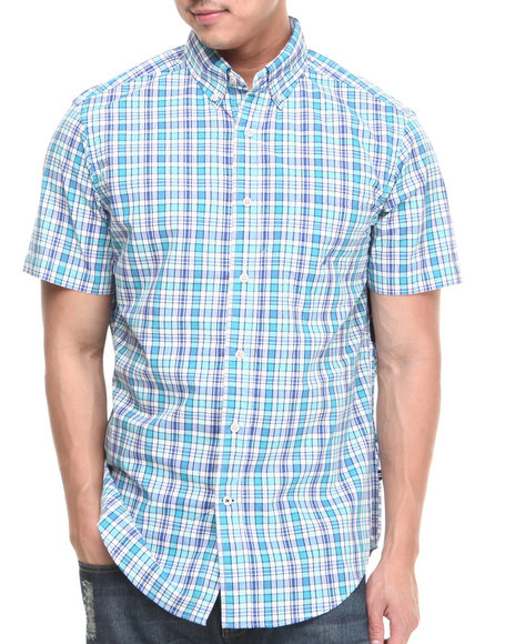 Nautica Blue Medium Plaid S/S Button-Down