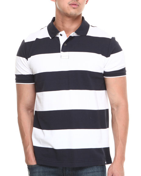 Nautica - Men Navy,White Rugby Stripe Polo