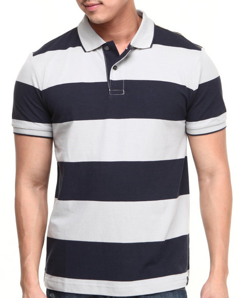 Nautica - Men Grey,Navy Rugby Stripe Polo