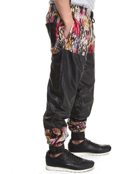 Double Needle Black,Multi Scale Breaker Drawstring Pant