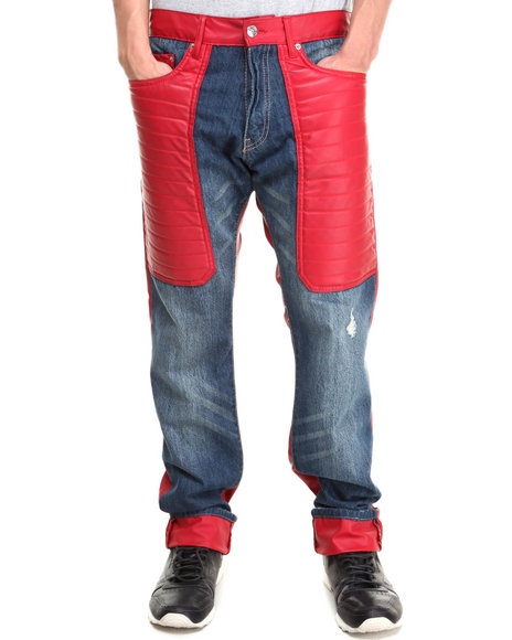 Winchester - Men Red P U Lower - Trimmed Denim Jeans