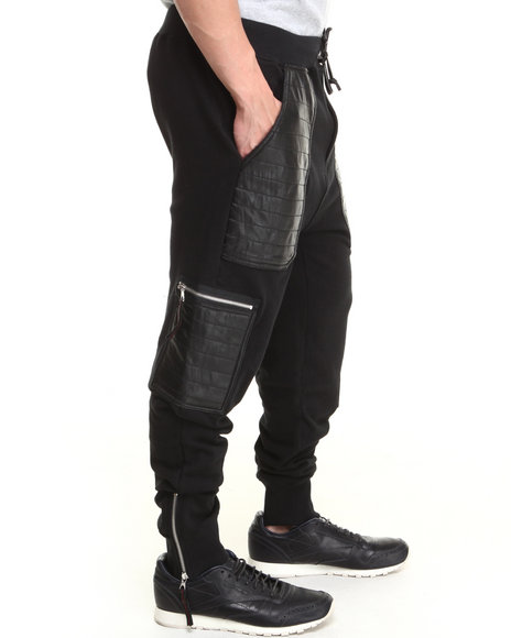 Winchester Black Black Hawk P U Trimmed French Terry Straight Rise Jogger