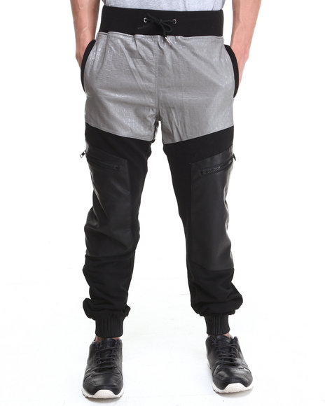 Double Needle Black,Grey Mr. Sinister Vegan Leather Leg Pant