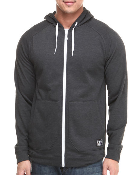Under Armour - Men Black Corbden Full Zip Heathered Hoody