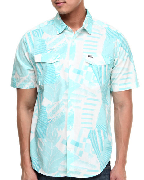 Volcom - Men Teal Get Ripped S/S Button-Down