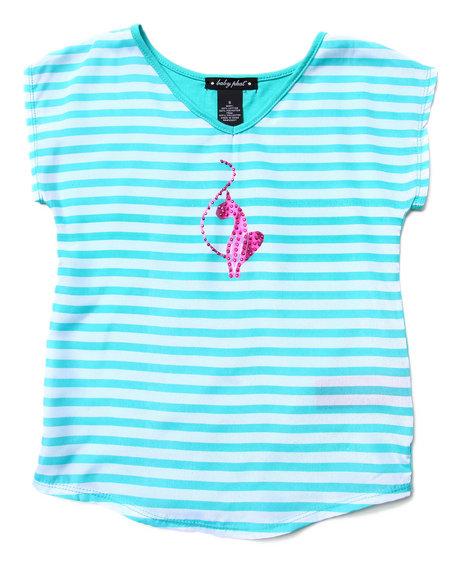 Baby Phat Girls Teal Striped Drape Top (7-16)