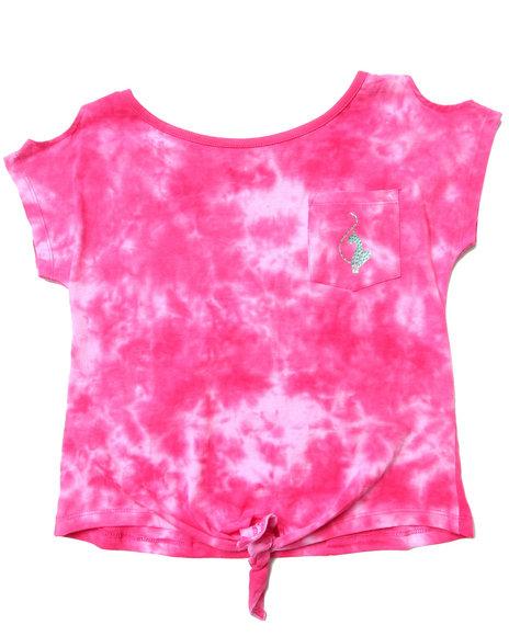 Baby Phat - Girls Pink Tie Dye Front Tie Top (7-16)