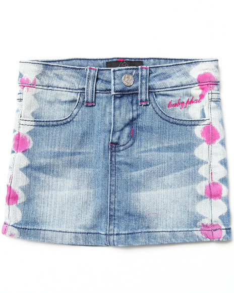Baby Phat - Girls Light Wash Embroidered Denim Skirt (4-6X)