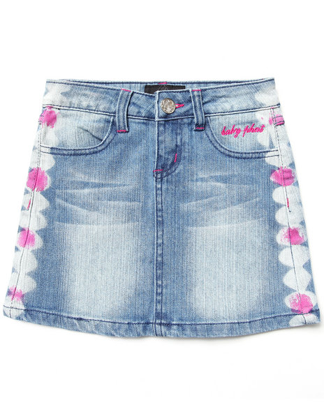 Baby Phat Girls Light Wash Embroidered Denim Skirt (7-16)