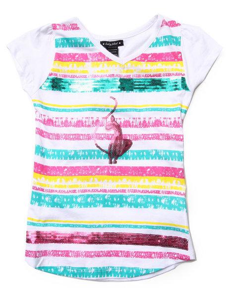 Baby Phat Girls White Sequin Strip Tee (7-16)