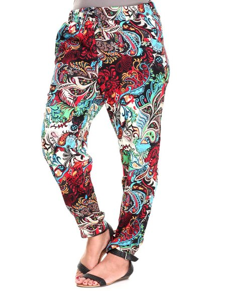 Fashion Lab - Challis Large Print Drawstring Pant (Plus)