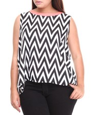 Apple Bottoms - Chevron Print Back Zip Top (Plus)