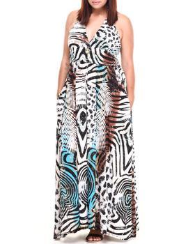Apple Bottoms - Halter Safari Maxi Dress (Plus)