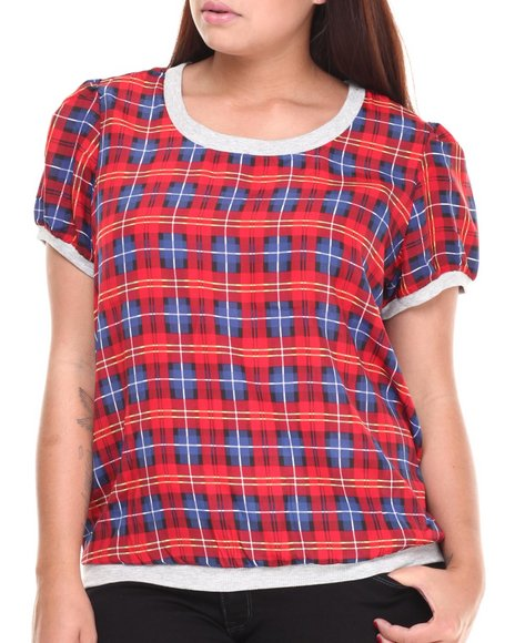 ALI & KRIS - Women Red Plaid Print S/S Top (Plus)