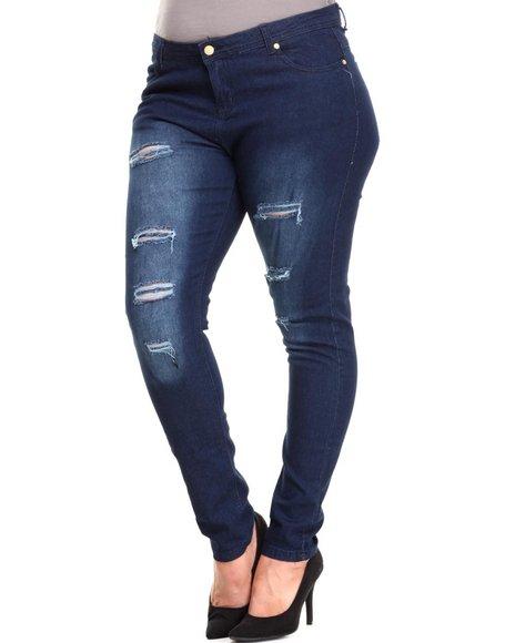 Apple Bottoms - Women Dark Wash Distructed Skinny Jean (Plus)