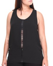 Women - RACERBACK TANK DRESS WITH VEGAN LEATHER TRIM