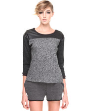Women - Static Sweatshirt with PU Sleeve