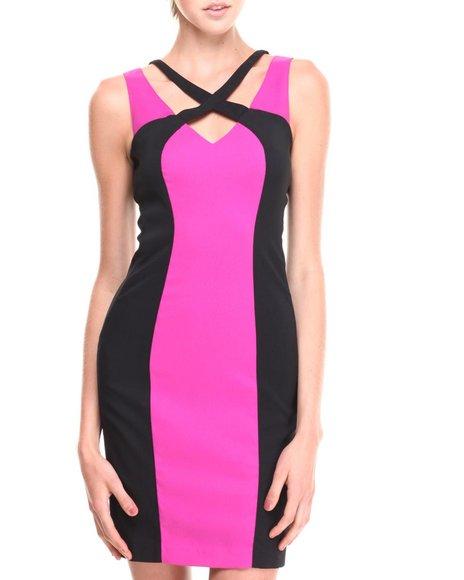 XOXO Dark Purple Crossfront Zip Back Colorblock Sheath Dress