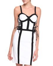 XOXO - Bustier Lace-up Colorblock Millenium Sheath Dress